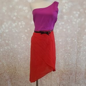 Last One! NWT One Shoulder Belted Dress